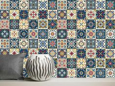 Vinyl Stickers Moroccan Portuguese Tiles / Set 24 pcs / Tile Decals / Tiles for Kitchen / Tiles for Bathroom / Floor Decals