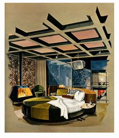 retro future 1960s | 1960s cool bachelor pad's bedroom,