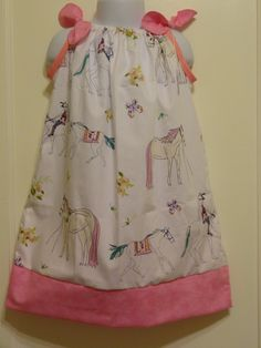 Horses Flowers & Butterflies Girls Pillow Case Dress Made to Order Sizes 2 to 6, Ponies, Horses, Flowers by DesignsByGranGran on Etsy