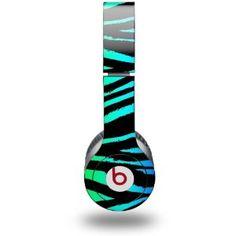 Rainbow Zebra Decal Style Skin (fits Beats Solo HD Headphones)
