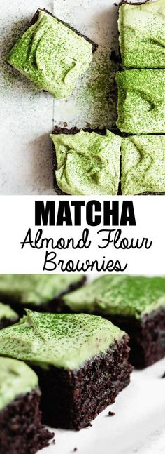 These almond flour brownies with matcha mint frosting are a healthy grain-free dairy-free and gluten-free treat! These almond flour brownies with matcha mint frosting are a healthy grain-free dairy-free and gluten-free treat! Gluten Free Treats, Gluten Free Desserts, Gluten Free Recipes, Paleo Dessert, Dessert Recipes, Cake Recipes, Potluck Recipes, Flour Recipes, Pumpkin Dessert