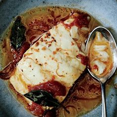 Poached Cod with Tomato and Saffron @epicurious #triedandtrue