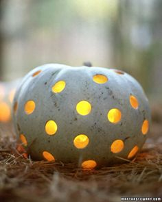 martha stewart punched out pumpkin. She always wins the prize for best pumpkin ideas. White Pumpkins, Painted Pumpkins, Carving Pumpkins, Pumpkin Carvings, Fall Pumpkins, Halloween Pumpkins, Halloween Decorations, Outdoor Decorations, Holiday Decorations