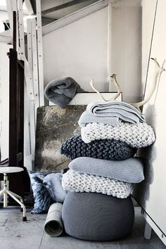 By Nord | Braided Knit Cushions - hmmm great DIY idea with chunky wool