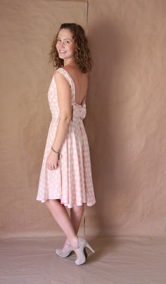Palindrome Dry Goods: Handmade Vintage McCall's 7113 Low Back Dress in Heather Bailey Rayon