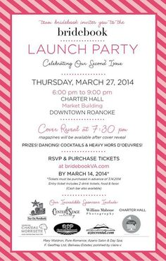 bridebook launch party~~Don't miss it. Get tickets today