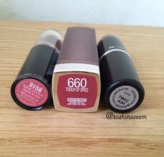 left to right; Wet n Wild Spiked with Rum, Maybelline 660 Touch Of Spice, MAC Twig MAC's lipstick in Twig has been very popula. Mac Lipstick Shades, Maybelline Lipstick, Mac Matte Lipstick, Lipstick Colors, Lip Colors, Lipsticks, Touch Of Spice Lipstick, Mac Twig Dupe, Hair