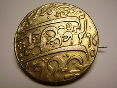Georgian British East India Company Gilded Gilt Silver Rupee 18th 19th Century Indian Coin Brooch Pin