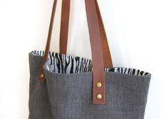 Handmade Linen Tote Bag/ Blue linen bag/ Mac book by fabricAsians