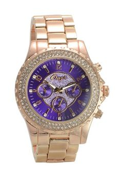 Onyk Women's Rose Gold Violet Fashion Watch Faux Chrono #016-RG2 - Jewelry For Her