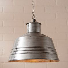 Canning Table Pendant This unique Canning Table pendant light is made from a distressed polished tin. It is wired with one standard socket of 150 watts maximum. This light comes with 6.5' of wire and