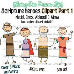 This beautiful clipart set includes Nephi, Enos, Abinadi and Alma. In addition to the Book of Mormon prophets, there are extras. Such as bow