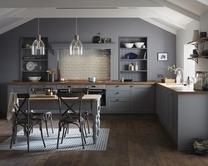 The Fairford kitchen family offers simple Shaker kitchen doors, currently available in a grey matt grain finish.