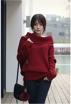 Wide Turtleneck Loose Fit Long Knit | Korean Fashion