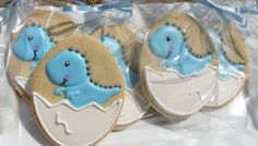 Baby Dinosaur Cookies 1 Dozen by PetesCustomCookies on Etsy, $25.00
