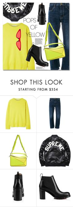 """""""Get Happy: Pops of Yellow"""" by svijetlana ❤ liked on Polyvore featuring The Row, Current/Elliott, Loewe, Christian Louboutin, PopsOfYellow and NYFWYellow"""