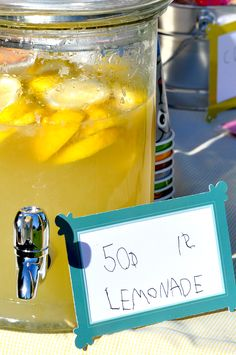 25 TIPS FOR HOSTING A LEMONADE STAND.  We used the recipe and most of her ideas: SUCCESS!