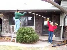 This guy is a genius! This is the easiest way I have ever seen to hang Christmas lights and it's cheap