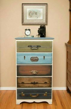 Bureau made to look like a stack of suitcases.