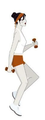 <b>1. Λεπτές γάμπες, γυμνασμένα χέρια: Επιτόπου τρέξιμο με κάμψεις χεριών</b>  <b>Αρχική θέση</b> Όρθια, κρατάς από ένα βαράκι σε κάθε χέρι.  <b>Εκτέλεση</b> Κάνεις επιτόπου τροχάδην χωρίς να ανασηκών