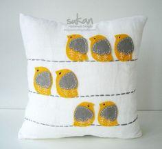 sweet yellow and grey birdie felt pillow. I love felt. Felt Crafts, Fabric Crafts, Sewing Crafts, Sewing Projects, Diy Crafts, Sewing Pillows, Diy Pillows, Decorative Pillows, Throw Pillows
