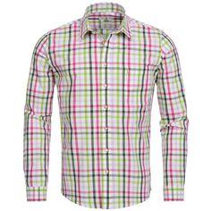 Trachtenhemd Slim Fit mehrfarbig in Pink, Hellgrün und Grün von Almsach