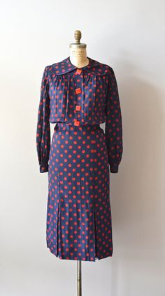 polka dot 1930s dress / vintage 30s silk dress / Gin by DearGolden, $248.00