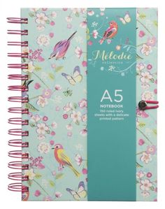 This gorgeous wiro-bound A5 notebook is beautifully decorated with a bird and floral pattern on its turquoise background, and the pink wiro-binding and matching elastic closure add a feminine touch. The ivory pages are delicately patterned with a pink butterfly design making this notebook the perfect gift for someone special.