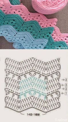 Patterns and molds - crafts images and photos - creative crochet ideas . Crochet Square Patterns, Crochet Diagram, Crochet Chart, Crochet Blanket Patterns, Baby Blanket Crochet, Crochet Baby, Knitting Patterns, V Stitch Crochet, Mode Crochet