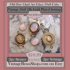 #RARE #VINTAGE 10X8 PRONGED #SETTINGS #CONNECTORS    Notice the #unique #fleurdelis prongs on these old settings    Plus #GORGEOUS Old 10X8 #Fire #Opal #Art Glass Cabochons    You will recieve 2pc Settings and 2pc Fire Opals    These are old brass pieces that we quality custom plated in #18kGold    #Antiqued with tarnish resistant finish    Hand #soldered bezels with fleur de lis prongs    These are very rare vintage settings with lovely beaded edge design    Overall, each connector measures…