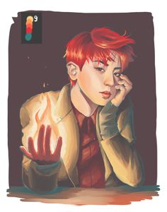 chanyeol with palette 9 by sassyeol Sistema Solar, Exo Music, 5 Years With Exo, Dog Comics, Exo Fan Art, Girl And Dog, Kpop Fanart, Park Chanyeol, Cute Cartoon