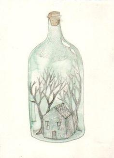 Illustration tree green forest house bottle watercolour