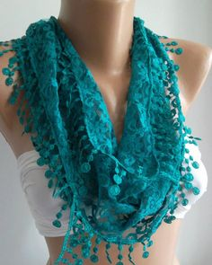 Turquoise Blue  Elegance  Shawl / Scarf with Lacy Edge by womann,