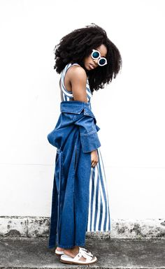 Blue Hues Dress: Zara // Denim Duster Coat: &otherstories (old) // Slides: Whistles (old) // Watch: DanielWellington // Sunglasses: Freyrs Fashion Look by Uzy Nwachukwu