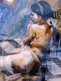 Ian Francis {figurative #expressionist abstract art seated female #grunge woman painting drips} ifrancis.co.uk