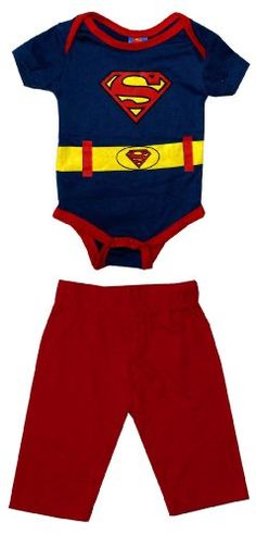 Superman Logo Costume DC Comics Baby Creeper Romper Snapsuit With Pants Two Piece Set: Amazon.com: Clothing