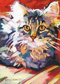 Karen Mathison Smidt: Wide-Eyed Wonder Kitty. - post-impressionist style colorist painting of a tabby cat kitten 5 x 7 inches oil on Gessobord™