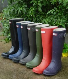 Hunter Boots; originally are mucking boots, for working on horse stables. BAM.