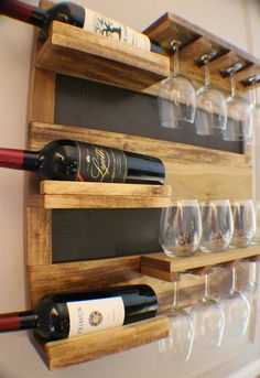 Georgous Golden Oak Stained Wall Mounted Wine Rack With Shelves And Decorative…