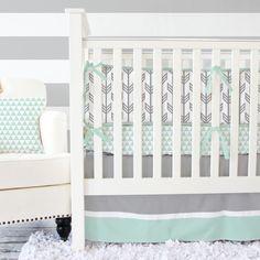 Gray & Mint Arrow Baby Bedding  3 pc by CadenLaneBabyBedding, $172.00