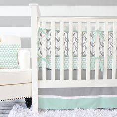 Gray & Mint Arrow Baby Bedding - 2 Or 3pc Bedding Set