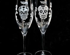 Dia De Los Muertos Wedding Champagne Glasses, Toasting Flutes for Day of the Dead