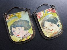 Stories. Rustic salvaged tin earrings. by fancifuldevices on Etsy