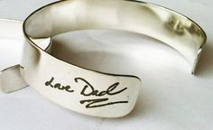 Large Handwriting Cuff Bracelet 1/2 inch wide, Writing or Drawing, custom personalized cuff on Silver, perfect gift for Bride, wedding gift