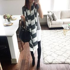 striped scarf, over the knee boots