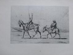 DAUMIER DON QUIJOTE 23X30 Kunstdruck Druck Zeichnung Lithographie Antique Print