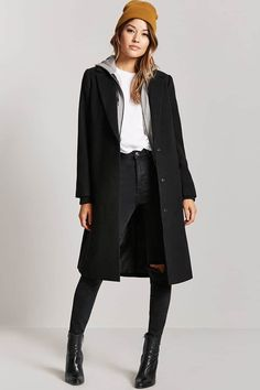 Product Name:Hoodie-Insert Longline Coat, Category:outerwear_coats-and-jackets, Price:64.9