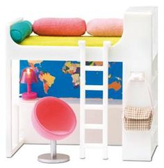 Buy online Lundby Lights up Smaland 2015 Loft Bed Set at best prices at Lyallway. Right choice for Online Shopping for Lundby products, friendly customer servi Modern Dollhouse, Diy Dollhouse, Miniature Furniture, Dollhouse Furniture, Bed Sets, Barbie Furniture, Bedroom Bed, Bed Rooms, Toy Store