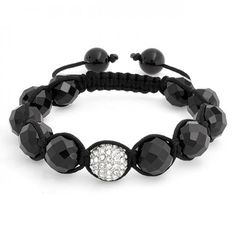 Bracelet Shamballa Inspired Mens White Crystal Ball Faceted Black 12mm