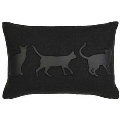 Black Cushion with a Black Faux Leather silhouettes of Cats.